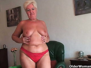 Chubby granny with saggy big tits and plump ass