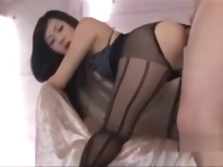 Asian girl fucked hard in stockings and high heels