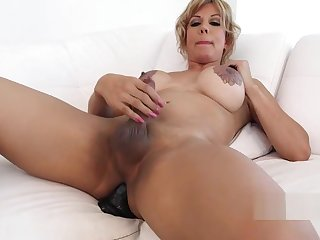Mature sheshaft play with giant toy