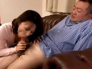 Timid Asian milf blows her husbands fat old dick