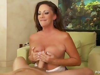 Hot mature lady plays with young throbbing dick of handsome dude