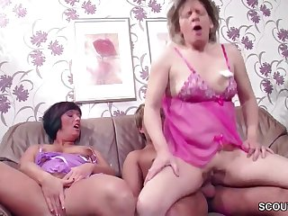 German Step-Mature and Aunt Seduce 18 Years Old Boy to Make Love her