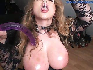 Crazy sbbw whore gagging herself huge dildo. Throatfuck - giving head