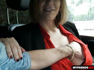 Fantastic huge boobed MILF Sara Jay gives titjob and enjoys doggy