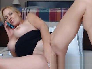 Mature Housewife Masturbating During Webcam PhoneSex