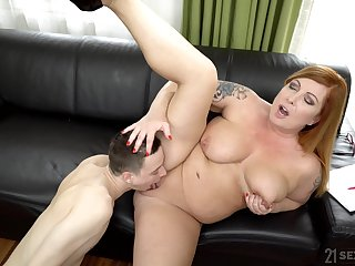 BBW Tammy Jean enjoys to jump on hard friend's dick before he cum on her tits