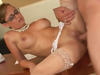 Holly West works hard to get that knob cum load all over her tempting glasses - holly west