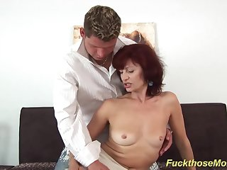 skinny sexy redhead czech mom enjoys rough fucking with her young toyboy