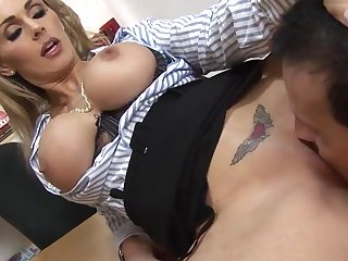 Stepmom was touching herself, son came and fuck her hard