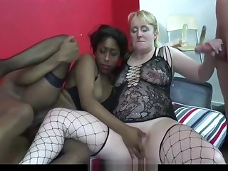 A mature one babe fair in duet with an attractive one blackette