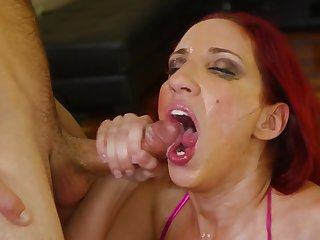 Dude smothers mature ginger lady with a long hard cock
