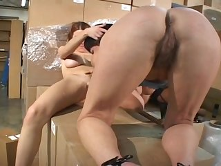 Hot Carpet muncher Strapon Action In Storeroom