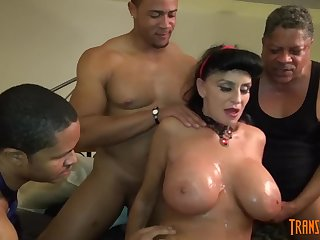 White GILF takes 3-way BIG BLACK COCK screw of her life