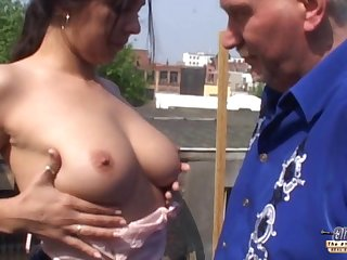 Latina babe Salma De Nora shoes her boobs to old geezer