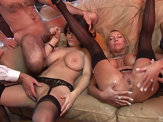 Group sex with mommy and her slutty daughter