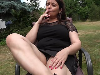 Fake dildo penetrating old cunt of amateur fat granny with saggy tits